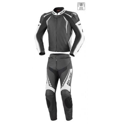 Büse Silverstone Pro kétrészes bőrruha fekete/fehér